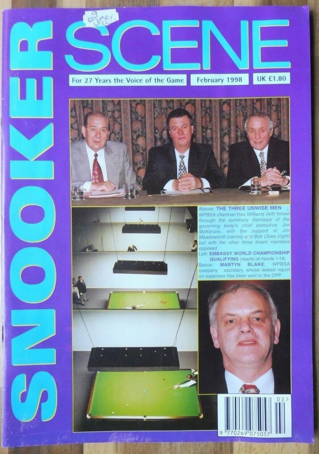 Snooker Scene Magazine, February 1998, Good Condition.