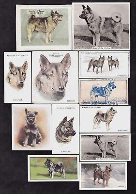 12 Different Vintage Norwegian Elkhound Tobacco/Candy Dog Cards Lot