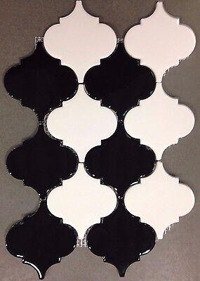 Black White Arabesque Ceramic Mosaic Tiles  Kitchen Backsplash Bathroom Tile  Black White Bathroom Tile