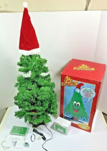 "Gemmy Douglas Fir Talking Singing Animated Christmas Tree Large 27"" W/ Cassette"