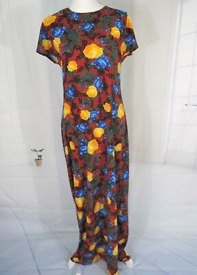 Lularoe Dress M Cap Sleeve Maxi Maria Dress Crew Neck Floral Long Dress Size M