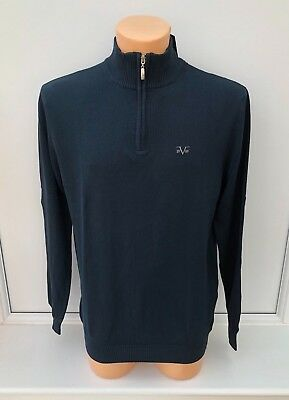VERSACE 1969 Embroidered Logo Navy 1/4 Zip Lightweight Jumper Size S BNWT