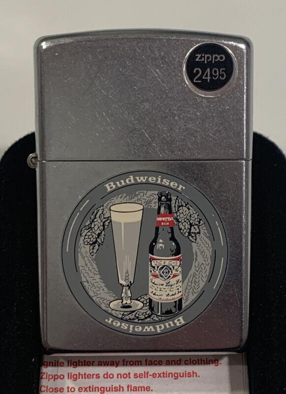 "Budweiser ""Bud Bottle And Glass"" 2002 Silver Plate Design Zippo Lighter NEW"