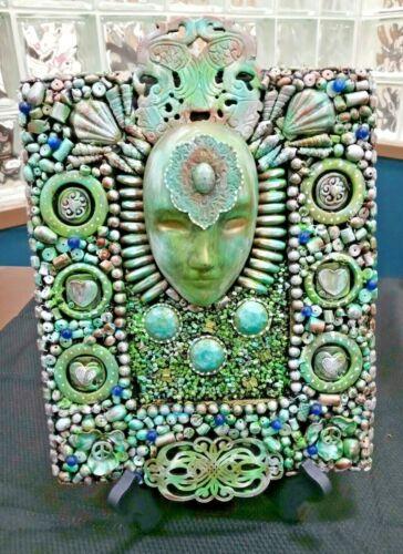 """""""The Goddess"""" Assemblage art sculpture OUTSIDER ART green Junk Mosaic OOAK"""