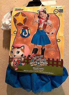 2t Cat Costume (girls NEW NWT DISNEY JR HALLOWEEN COSTUME SHERIFF CALLIE CAT COMPLETE size 2T)