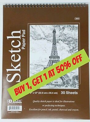 "Bazic Spiral Sketch Pad Sketch Book 9"" x 12"" 30 Paper Sheets for Pencil Pastel"