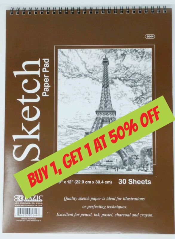 """Bazic Spiral Sketch Pad Sketch Book 9"""" x 12"""" 30 Paper Sheets for Pencil Pastel"""