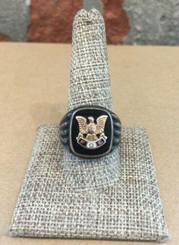 Vintage Sterling & 10k Fraternal Order of Eagles Ring 9/HN/P27