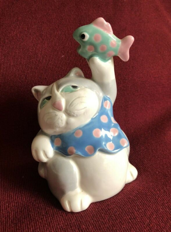 Cat Bell with fish Ceramic vintage 80