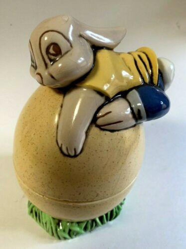 Hand Painted Starlite Ceramic Mold Bunny on Egg Box/Jar, Easter/Spring Decor