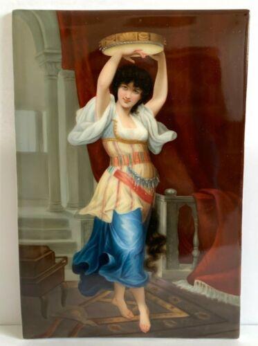 Impressive Antique KPM Porcelain Tambourine Gypsy Dancer Plaque