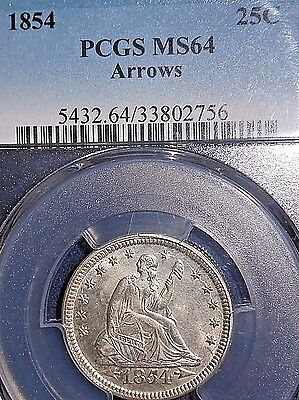 Click now to see the BUY IT NOW Price! 1854 25C ARROWS LIBERTY SEATED QUARTER PCGS MS64 DIE CRACKS/CLASHING  MINT ERROR