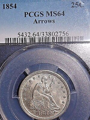 Click now to see the BUY IT NOW Price! 1854 25C ARROWS LIBERTY SEATED QUARTER PCGS MS64  NICE DIE CRACKS/CLASHING