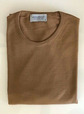 John Smedley Lundy Merino Wool pullover in camel (Size M), Made in England