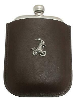 Capricorn The Goat Pewter 4oz Kidney Hip Flask Leather Pouch FREE ENGRAVING 63