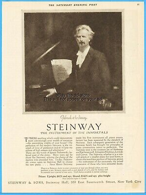 1923 Steinway Piano Ignace Paderewski Portrait Instrument of the Immortals Ad