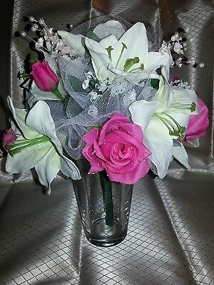 (Wedding 2 pc bridal bouquet ivory lily hot pink roses lily of the valley & bout)