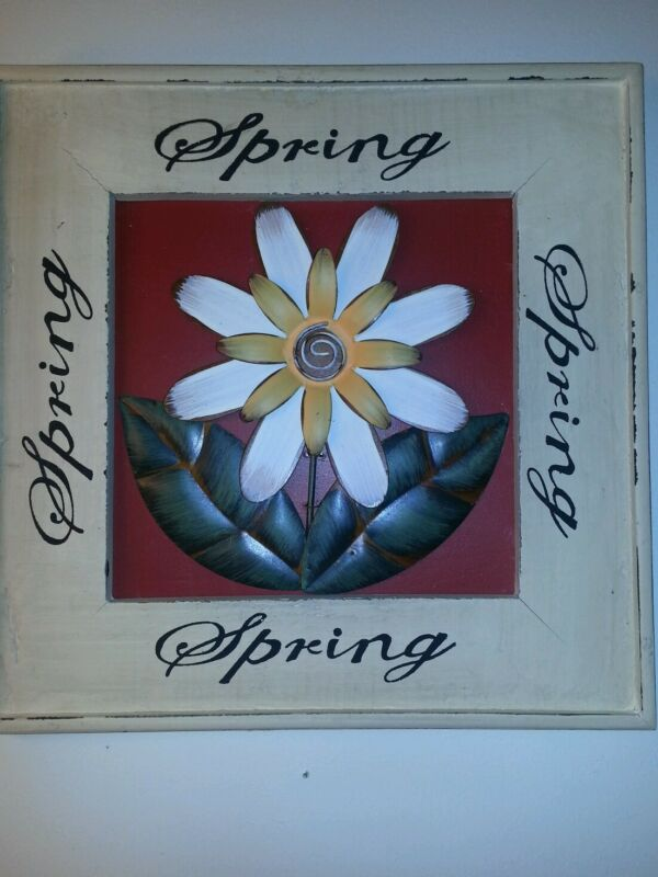 Spring Flower Metal in Wood Frame - antique looking