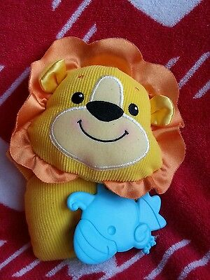 """Fisher Price Yellow Orange Lion Soft Toy Rattle and Teether 8"""""""