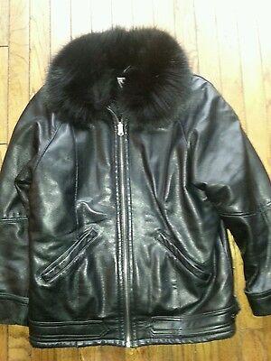 MARVIN RICHARDS Womens Black Leather Bomber Jacket  Fox Fur Collar size S/M