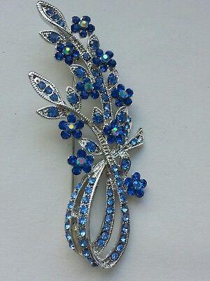 Beautiful silver Vintage Sparkling Flower light blue Crystal Brooch