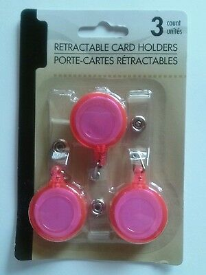 3 Pink Employee Retractable Reel Badge Belt Clip Lanyard Id Card Holder Pink