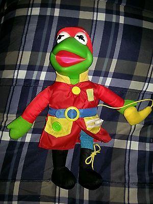 1990 Jim Henson Kermit the Frog Fireman Dress Me Plush Doll Teaches Mattel Arco (Kermit The Frog Dress)