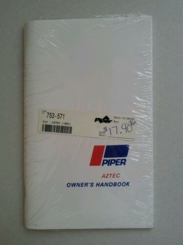 New Piper Aztec Owners Handbook PA-23-250 753-571 1960 1961 Exc Reprint