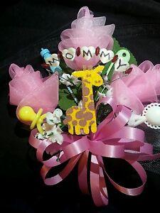 Baby shower mommy giraffe corsage boy or girl aqua pink or blue jungle