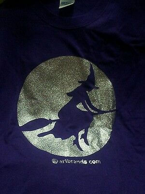 Witch Flying On A Broomstick In Silver Glitter Moonlight T Shirt Halloween Wicca