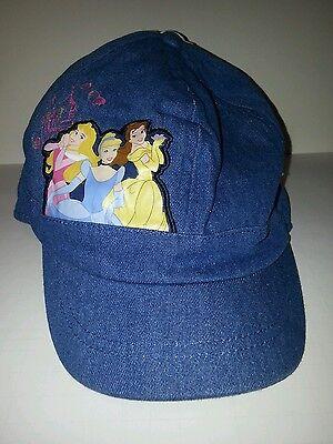 Toddler Girls Disney Princess Blue Denim Fitted ball cap hat Ages 3-6