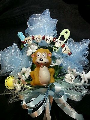 Baby shower MOMMY monkey corsage boy or girl aqua pink or blue jumgle theme  - Monkey Baby Shower Theme