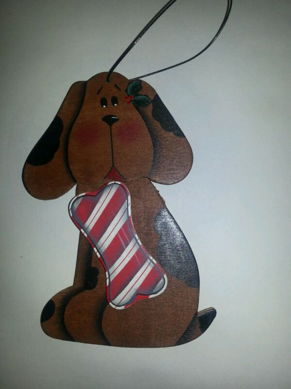 Dog and Candy cane bone Christmas ornament - painted wood with black wire hanger