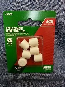 Replacement Rubber Door Stop Tips 1/2in L White Fits most rigid & spring stops