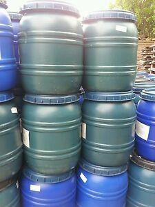 Blue  and Green Water Butt Plastic Drum/Barrel  Light damage .