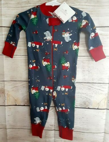 Hanna Andersson NWT 60,6-9m onepiece Holiday sleeper, slate gray,red,100%Organic