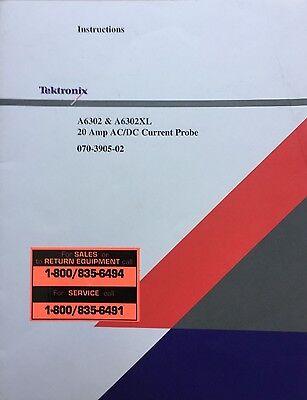 Tektronix A6302 A6302xl 20a Acdc Current Probe Instruction Manual 070-3905-02
