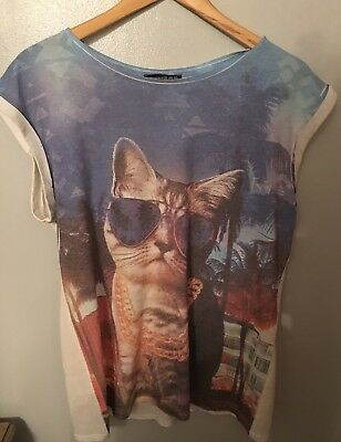 Ladies Cat With Sunglasses Tshirt Size 16 Atmosphere <M1906