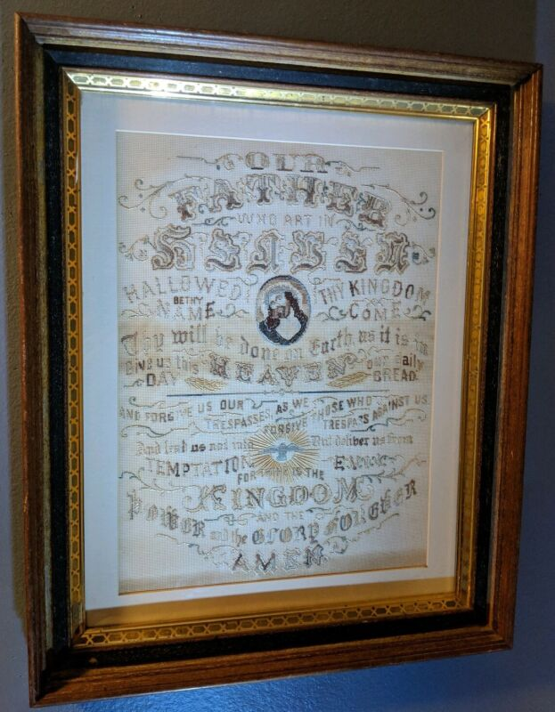 Antique Large Framed Religious Sampler - The Lord's Prayer - Silk Threading