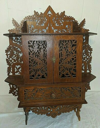 Gorgeous Fretwork Acorns Oak Leaves Wood Hanging Tramp Art Hanging Shelf Cabinet