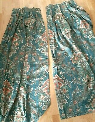 """Vintage """"Irvine"""" Dovedale Fabric Green Floral Pair of Curtains W 77"""" D 56"""""""