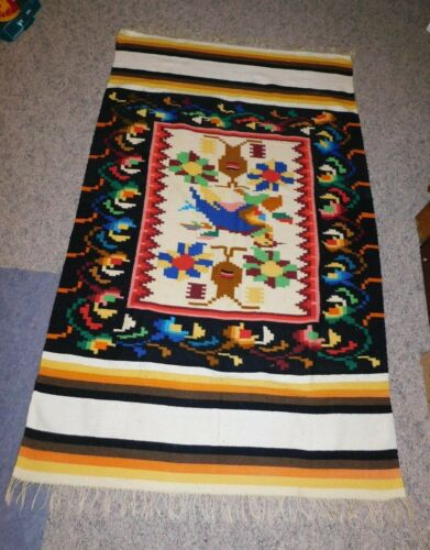 """Beautiful Antique Woven Indian Blanket BRIGHT COLORS 80"""" by 48"""""""