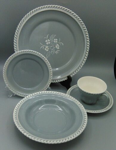 RARE Harker Chesterton Gray Dinner floral plate  + Soup w/ 1 place setting 5 pcs