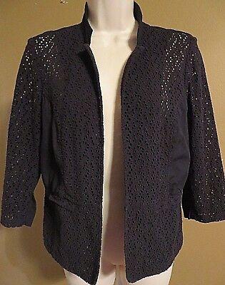 (Chicos Womens Eyelet Fabric Shrug Jacket Size Chicos 1 Black 3/4 Sleeve)