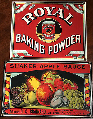 ROYAL BAKING POWDER SHAKER applesauce vintage porcelain Signs Country kitchen