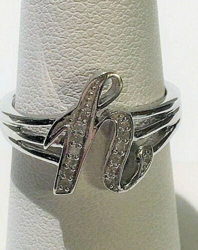 """NWT GENUINE DIAMOND INITIAL """"H"""" RING SIZE 7 (0.10 CTW) 925 SS"""