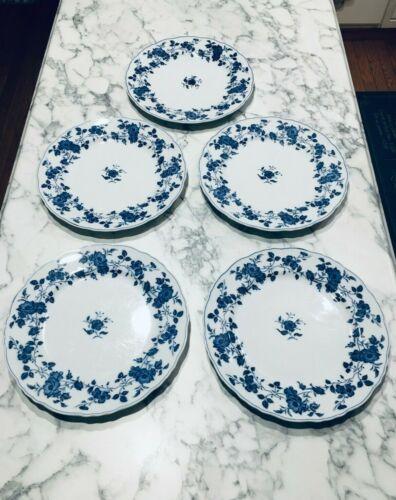 "SET OF 5 ROYAL MEISSEN 10 1/4"" DINNER PLATES BLUE & WHITE FINE CHINA OF JAPAN"