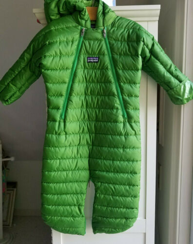 Patagonia Infant Down Sweater Bunting Green Hooded Size 6 Month (32109A)