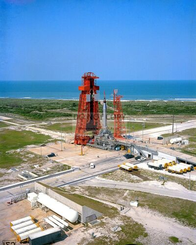 AERIAL VIEW OF LAUNCH COMPLEX 14 WITH FAITH 7 AT PAD - 8X10 NASA PHOTO (EP-158)