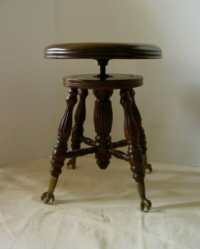 VINTAGE THE CHAS PARKER CO MERIDEN CONN ADJUSTABLE PIANO STOOL CLAW FOOT